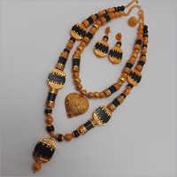 Double African Beads Necklace with Earring and ring