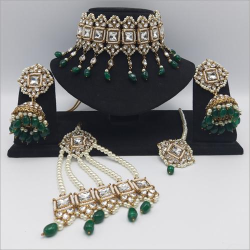 Emrald Pakistani Jewellery Necklace Set, Maangtikka and Passa
