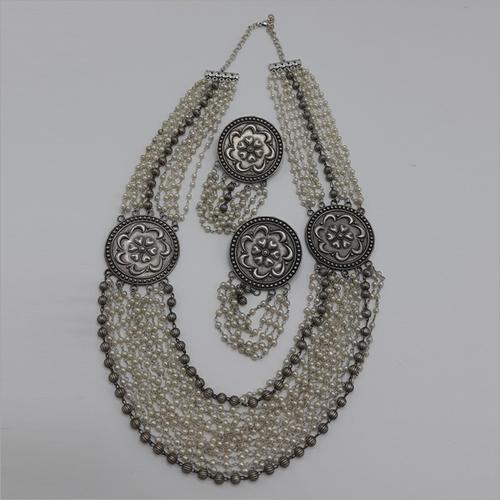 Long Moti Oxidize Necklace Set