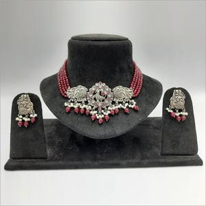 Ruby Glass Pearl and Drop Oxidize Choker Necklace set