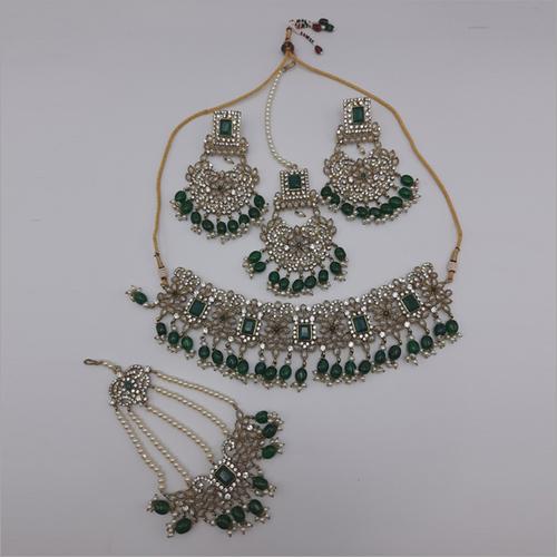Emrald Pakistani Jewellery Necklace with Earrings, Maangtikka and Passa