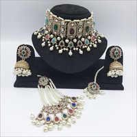 Multicolour Pakistani Jewellery Necklace with Earrings, Maangtikka and Passa