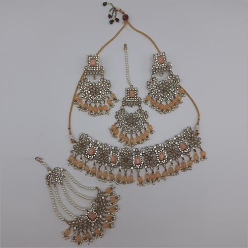 Peach Pakistani Jewellery Necklace with Earrings, Maangtikka and Passa