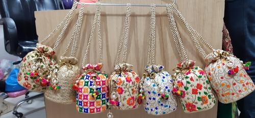 Beige Embroidered Potli Bag