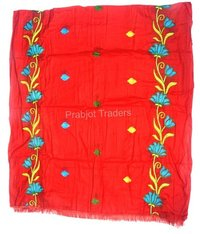 Red Cotton Embroidery Dupatta