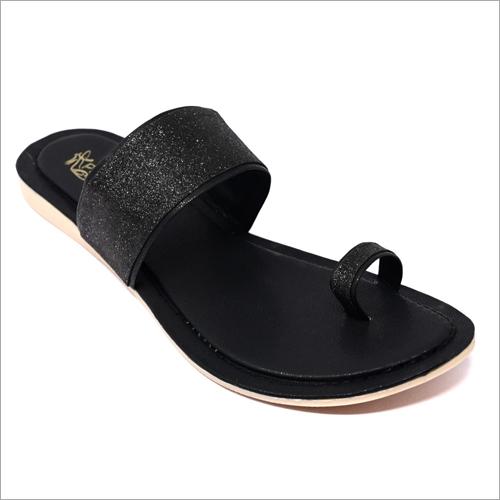 Ladies Flat Black Sandals