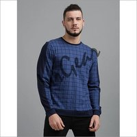 Men Blue Checkered T-Shirt