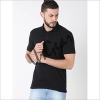 Men Black Solid Polo T-Shirt
