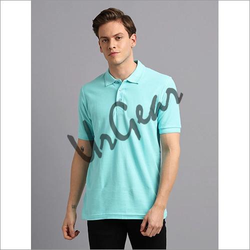 Men Mint Solid Polo T-Shirt