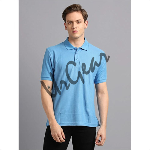 Men Sky Blue Solid Polo T-Shirt