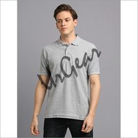 Men Grey Solid Polo T-Shirt