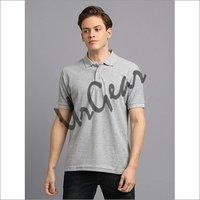 Men Grey Solid Polo T-Shirt