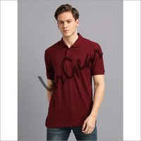 Men Burgundy Solid Polo T-Shirt
