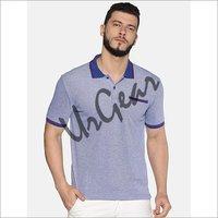 UrGear Self Design Men Polo Neck Light Blue T-Shirt