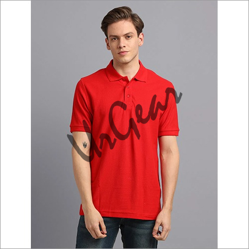 Men Red Solid Polo T-Shirt