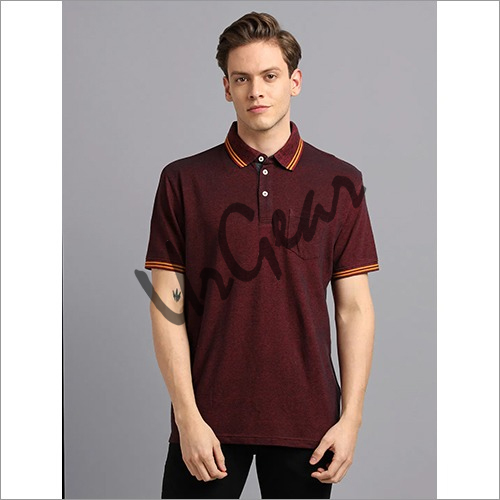 Men Maroon with Yellow Polo T-Shirt