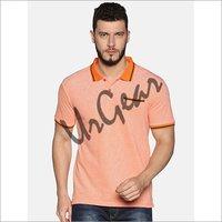 UrGear Self Design Men Collared Neck Orange T-Shirt