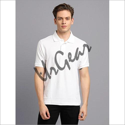 Men White Solid Polo T-Shirt