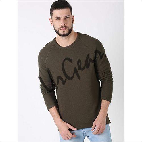 Men Green Solid Sweatshirt