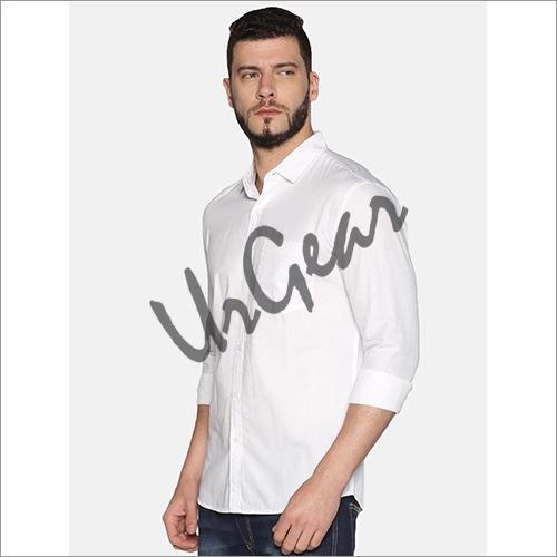 Men White Cotton Shirt