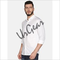 Men White Cotton Shirt