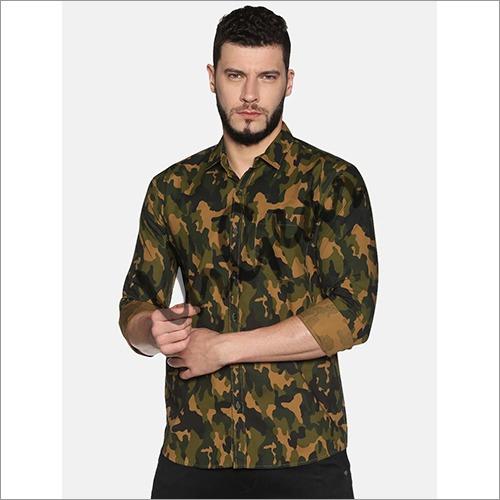 UrGear Mens Slim Fit Cotton Camo Printed Shirt