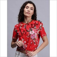 Women Floral Red T-Shirt