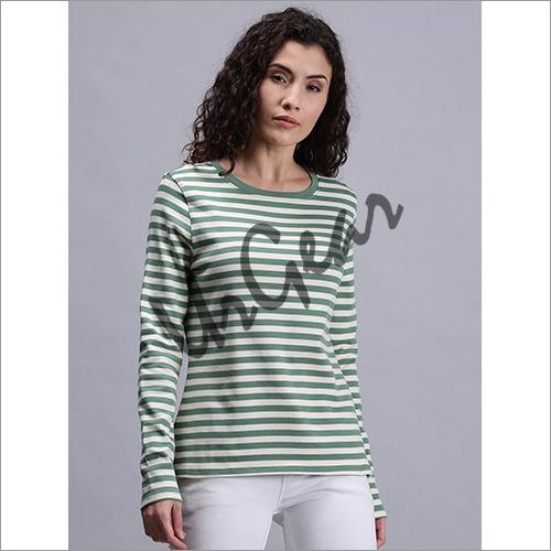 Women Striped Green T-Shirt