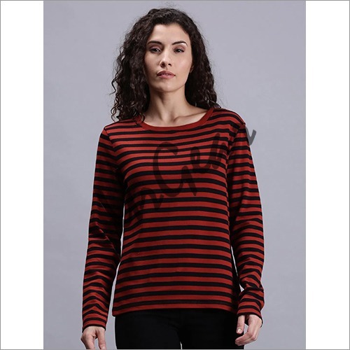 Women Striped Red T-Shirt