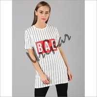 UrGear Striped Women Round Neck White T-Shirt