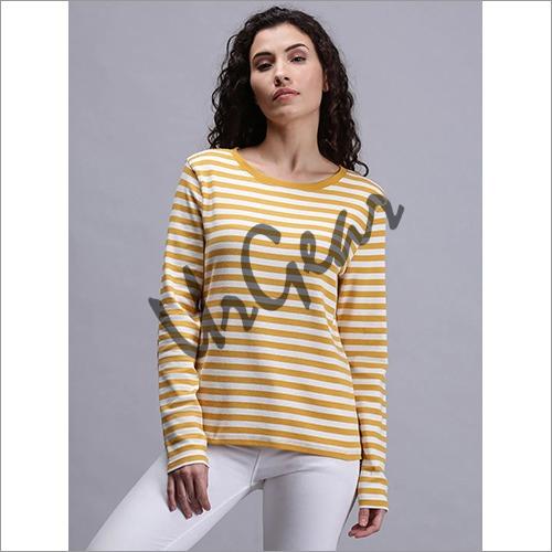 Women Striped Yellow T-Shirt