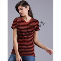 Women Striped Red T-Shirt