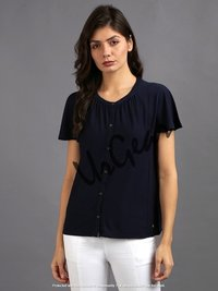 Women Navy Solid Top