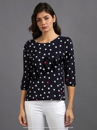 Women Navy Polka Top
