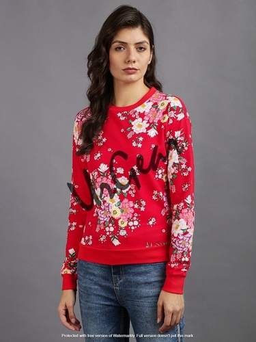 Women Red Floral Top