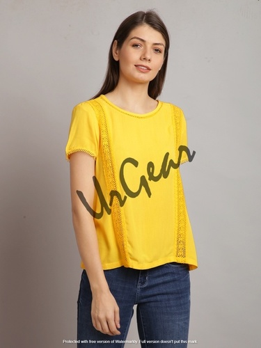 UrGear Casual Half Sleeve Lace, Solid Women Yellow Top
