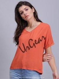 UrGear Casual Half Sleeve Solid Women Orange Top