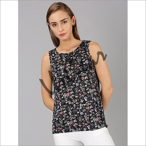 UrGear Casual Sleeveless Floral Print Women Black Top