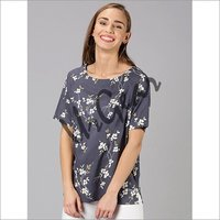 UrGear Casual Half Sleeve Floral Print Women Dark Blue