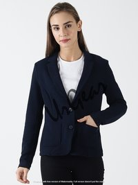 Women Solid Navy Jacket