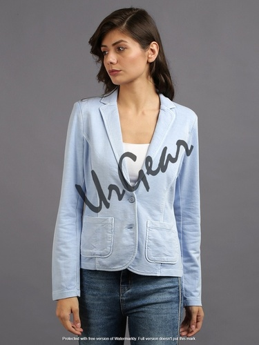 Women Sky Blue Solid Jacket