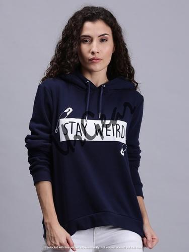 Women Hoodie Printed Navy T-Shirt