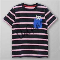 Kids Striped Cat Printed T-Shirt