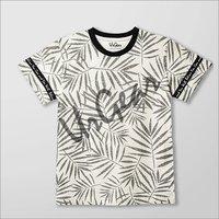 Kids Printed White Leaves T-Shirt