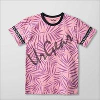 Kids Printed Pink Leaves T-Shirt