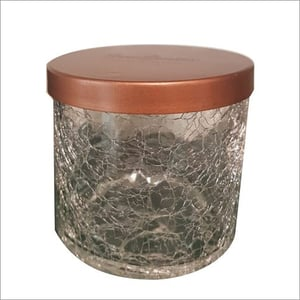 Three Wick Candle In Scented Crackled Glass Jar With Lid