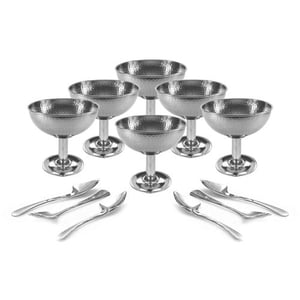 Stainless Steel Set of 12-6 Diamond Long Stand Design ice Cream Cup and 6 ice Cream Spoon