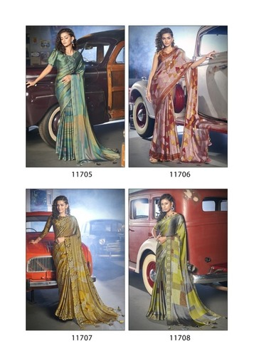 Retro By Triveni Saree Moss Chiffon Party Wear Printed Sarees Catalogue