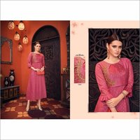 Pure Jacquard Viscose Pink Party Wear Gown