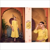 Hand Embroidered Yellow Party Wear Fashionable Gown